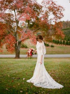 long sleeve fall wedding dress