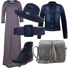 Abito lungo stretch da indossare sotto al seno, con una cintura blu in pelle di vitello. Giacca jeans e cappello blu navy, scarponcino stringato e borsa a tracolla in fintapelle. Perfette per una passeggiata in centro.