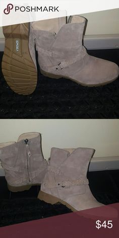 Teva waterproof suede booties Great boot. Light sand color, padded foot bed, good traction for winter and waterproof suede! NWOT worn around the house once or twice. Teva Shoes Ankle Boots & Booties