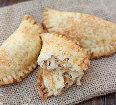 chicken bacon ranch empanadas, uses premade crusts, done in the oven at 400* for 13-15min