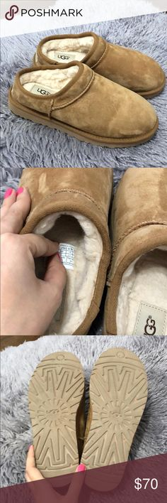Ugg Slippers chestnut Around the house slippers. I never worn them out only indoor. I got them a size too small lost receipt so can't return them. UGG Shoes Slippers