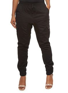 Plus Size Cargo Jogger Pants With Drawstring Waist