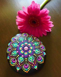 Handpainted Flower Mandala Stone Peace Zen Meditation Hippie Gift Rock | eBay