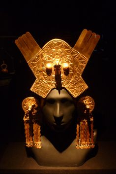 Inca gold headdress and ornaments.