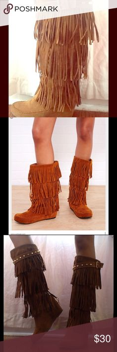 Pocahontas Fringe Boots  These can be your favorite new pair of shoes! They can be a compliment to your bohemian chic look, a fringe pick me up to your outfit, a coachella staple, and more. I included a picture from the web for you guys, so you can get the idea of how they fit  Worn twice. Shoes Wedges