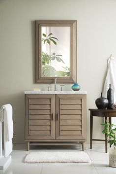 "36"" Portland Whitewashed Walnut Single Bathroom Vanity"