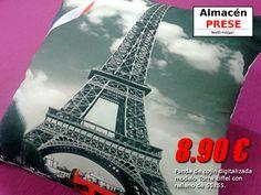 Funda de cojín 55x55 digitalizada modelo Torre Eiffel con relleno de fibra hueca por 8,90 € por unidad. Cojín desenfundable de gran calidad.