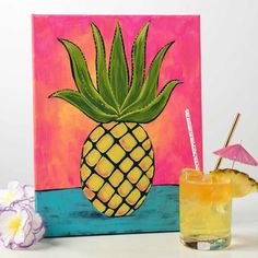 Create a beautiful marbled canvas with FolkArt Marbling paint. Painting For Kids, Diy Painting, Art For Kids, Beach Crafts For Kids, Canvas Painting Designs, Pineapple Painting, Flamingo Painting, Paint And Sip, Diy Canvas