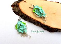 Mint Earrings Flower Earrings Mint Green Spring by insoujewelry
