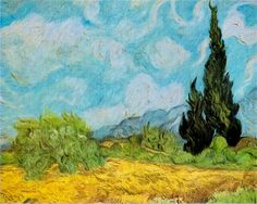 "A Wheatfield with Cypresses (also known as ""A Cornfield, with Cypresses"" 1889. Van Gogh painted three versions of this theme. This one here is a smaller and less accomplished studio version he sent it to his mother and sister as a gift. The paintings were inspired by the view from the window at the asylum towards the Alpilles mountains."
