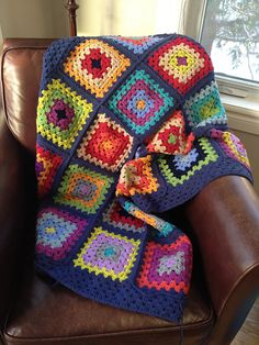 Ravelry: Mawilgra's Granny square blanket.  Just a basic granny square but I love the joining method and the colors are beautiful.