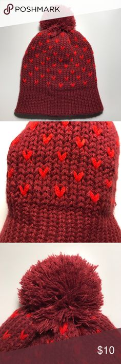 Burgundy beanie with red hearts ❤️❤️❤️ Women's only twice. Like new! The fit is loose and slouchy. Super cute & adorable 🤗 Old Navy Accessories Hats