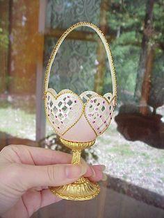 Košík z vajíčka * růžový porcelán se zdobenými srdíčky na zlaté nožce ♥