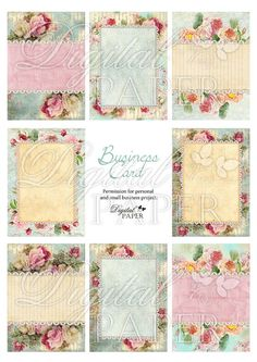 Business Cards - Tags - digital collage sheet - set of 8 - Printable Download. $4.55, via Etsy.