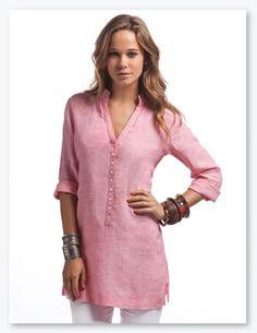 f6c9cfac3a Kimono Shirt! Mandarin Collar Shirt Women, Beach Tunic, Linen Tunic, Tomboy  Fashion