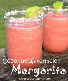 Coconut Watermelon Margaritas with Malibu