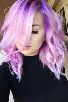 22 Visualy Stimulating Crazy Hair Color Ideas - All Day Fash Hair Color Purple, Hair Dye Colors, Cool Hair Color, Pink Hair, Crazy Color Hair Dye, White Hair, Neon Hair, Violet Hair, Purple Lilac