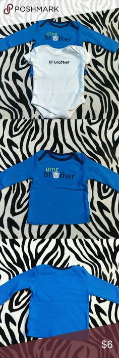 """Little Brother Shirts Bundle🐾 This is a pair of shirts. One long sleeve and one short sleeve! They are size Newborn-3 Months 🐸 For the Adorable little baby brother 🐣 🍼👦 excellent condition  long sleeve is  made by Carter's """"Child Of Mine"""" collection 0-3 months and the short sleeve Onsie is made by Gymboree Newborn🐙  Cared for with love from my lil one to yours💚💙💛 Carter's & Gymboree Shirts & Tops"""