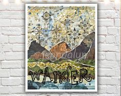 Compass Rose Garden  PAPER PRINT mixed media collage by Jenndalyn, $18.00