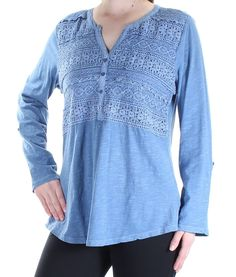 f0598c73bf59d STYLE   COMPANY Womens New 1416 Blue Floral Embellished Tunic Top M BB   fashion  clothing  shoes  accessories  womensclothing  tops  ad (ebay link)