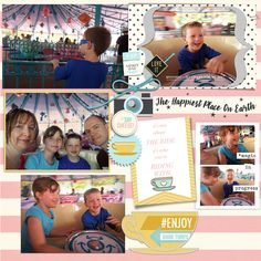 Tea Cups The Happiest Place on Earth Disney digital scrapbooking layout using Project Mouse: Beginnings Kit and Journal Cards by Sahlin Studio and Britt-ish Designs