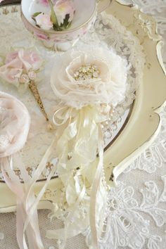 Ivory Lace and Tulle Gillyflower Brooch Handmade by Jennelise