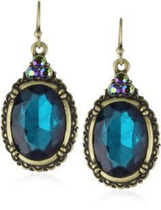 A stunning combination of rich tones and vintage glamour, these earrings by 1928 Jewelry make a colorful statement for any occasion. Ornate frami ...