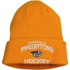 29739727f80f0 Mens Nashville Predators Reebok Yellow Locker Room Cuffed Knit Hat