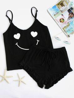 Shop Emoji Print Cami And Ruffle Shorts Pajama Set online. SheIn offers Emoji Print Cami And Ruffle Shorts Pajama Set & more to fit your fashionable needs. Cute Pajama Sets, Cute Pjs, Cute Pajamas, Pajamas Women, Pajama Outfits, Pajama Shorts, Trendy Outfits, Cute Outfits, Fashion Outfits