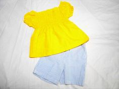 Toddler Girls Size 2T Shirt and Short Yellow Seersucker Blue & White Stripped - The Ivy Vine Resale Store #eBay