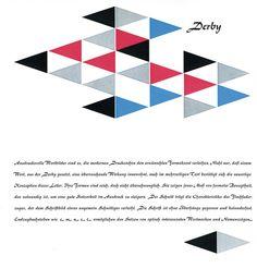 Seite aus der Festschrift »100 Jahre Berthold« 1958, Schrift: »Derby« von Günter Gerhard Lange   Die Schrift »Derby« (Schriftguss) wurde von Günter Gerhard Lange 1952 entworfen.