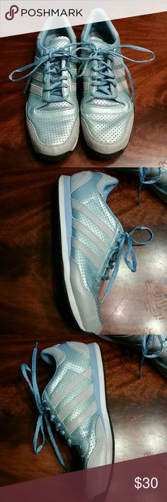 Adidas baby Blue Sneakers with Gray and White These have a triangle pattern.FTY NO. PYV 702001 ART NO. 014873. in great condition some dirt on the white line of the sole. Please see pics. adidas Shoes Sneakers