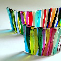 Rainbow Glass Art / Chakra Colours Glass Curve / Colour Kaleidoscope / Colourful Glass / Bathroom Art / Light Spectrum / Glass Prism Colours How about this - an absolutely stunning burst of colours in these prism coloured fused glass curves. They are two curves with a multitude of