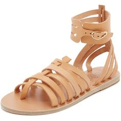 Ancient Greek Sandals Zaira Gladiator Sandals ($280) ❤ liked on Polyvore featuring shoes, sandals, roman sandals, greek leather sandals, strappy leather sandals, strap sandals and strappy gladiator sandals