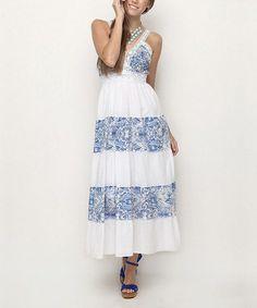 Look at this #zulilyfind! Blue Baroque Sleeveless Maxi Dress by ONE DAY #zulilyfinds