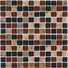 """Creative Decore  Via Appia Series, 7/8"""" x 7/8"""", Cafe Noir Blend, Glossy, Brown, Glass and Stone"""