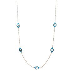 Lucky blue evil eye necklace that sways on your neckline and brings you lots of luck and protection.