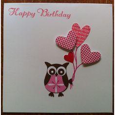 Owl punch Happy Birthday Woman, Birthday Kids, Scrapbook Cards, Scrapbooking, Owl Punch Cards, Owl Card, Birthday Card Design, Owl Crafts, Art N Craft