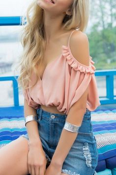 Sweet Solid Off Shoulder Crop Top#The crop top featuring solid chic. V neck. Spaghetti straps. Off shoulder. Backless.