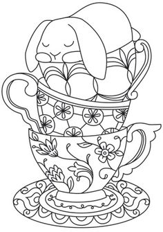 """Teacup Bunny"" Add a dash of adorable to tea towels and more with this bunny snuggled up in a stack of teacups! Downloads as a PDF. Use pattern transfer paper to trace design for hand-stitching. UTH7572 (Hand Embroidery) 00625987-013014-0815-3"