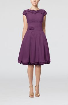 Lilac Cinderella Scalloped Edge Short Sleeve Chiffon Knee Length Lace Bridesmaid Dresses - iFitDress.com