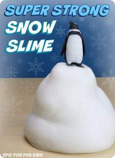 A super strong, super stretchy snow slime recipe for kids to play with! This slime makes a great science and sensory activity for winter or Christmas.