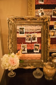 Found Vintage Rentals - old frames with lace ribbon strung across the back