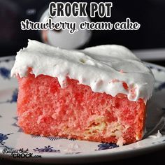 This Crock Pot Strawberry Cream Cake is so simple to make, yet will leave everyone wanting more. It was a huge hit when I took it to our weekly potluck!