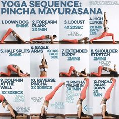 YOGA SEQUENCE: PINCHA MAYURASANA Warm up: SUN A & B x5 1. DOWN DOG You need strong shoulders for pincha & this will def train that 2. FOREARM PLANK Trains your hips & lower back to not collapse, strength makes for lightness, think of a hollow body the whole time & rest between sets 3. LOCUST legs together, dont lift high but extend forward & back from crown of head to toes, this is to train the inner thighs & back muscles 4. HIGH LUNGE To strengthen & stretch the quads. Strength for kicki...