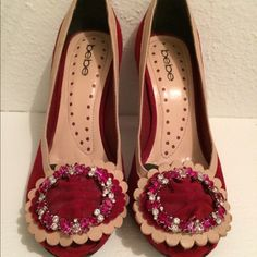 Bebe Suede and Embellished Heels Lovely and worn only twice. Pads inserted for comfort on the ball of the foot but then can be removed. Comfort and adorable!!! Bebe Shoes Heels