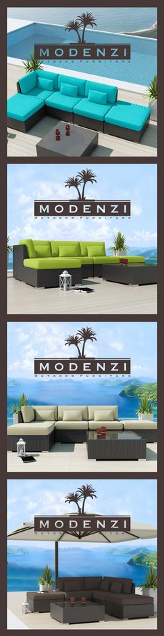 MODENZI DELUXE 6L ALL Weather Modern Outdoor PE Wicker Sofa Patio Furniture Set 9 Colors, Beautiful Design, Modular Sectional