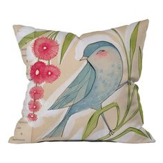 Multicolor throw pillow with script-detailed bird motif. Designed by artist Cori Dantini.  Product: PillowConstructi...