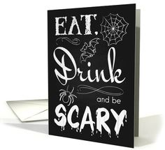 Retro Chalkboard Eat Drink and be Scary Invite with Spider and Bat card