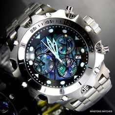 Mens Invicta Venom Hybrid Blue Green Abalone Chronograph Steel Watch New – Men's style, accessories, mens fashion trends 2020 Lux Watches, G Shock Watches, Stylish Watches, Gadget Watches, Amazing Watches, Cool Watches, Patek Philippe, Devon, Omega